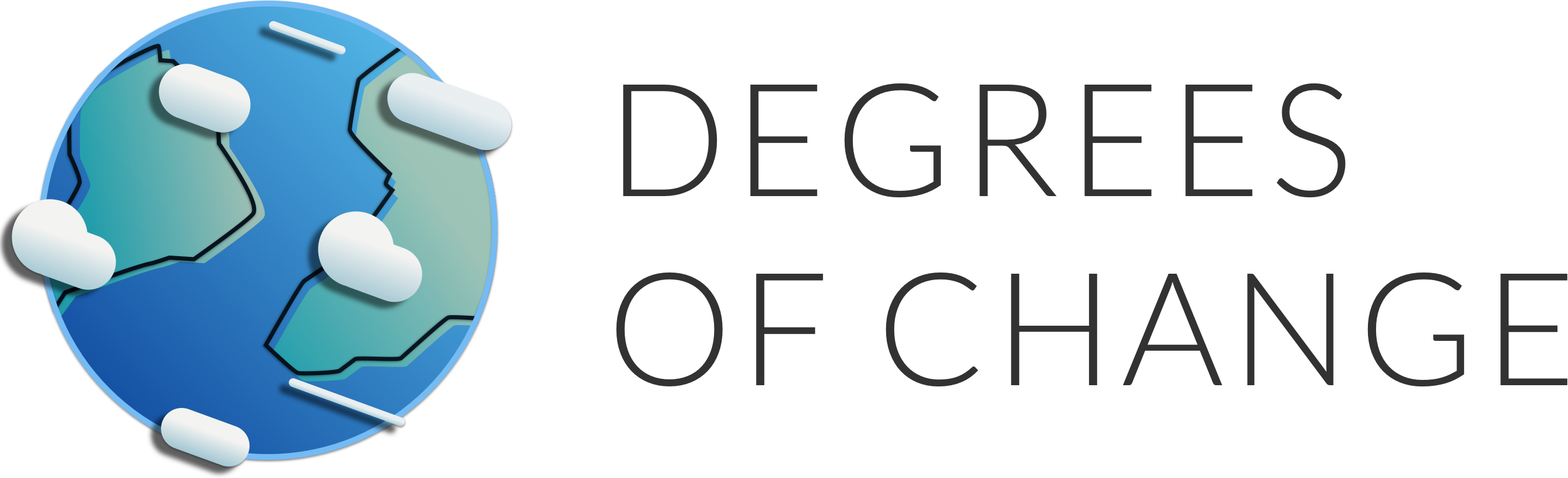 a stylized version of the earth with clouds, with the logo for degrees of change