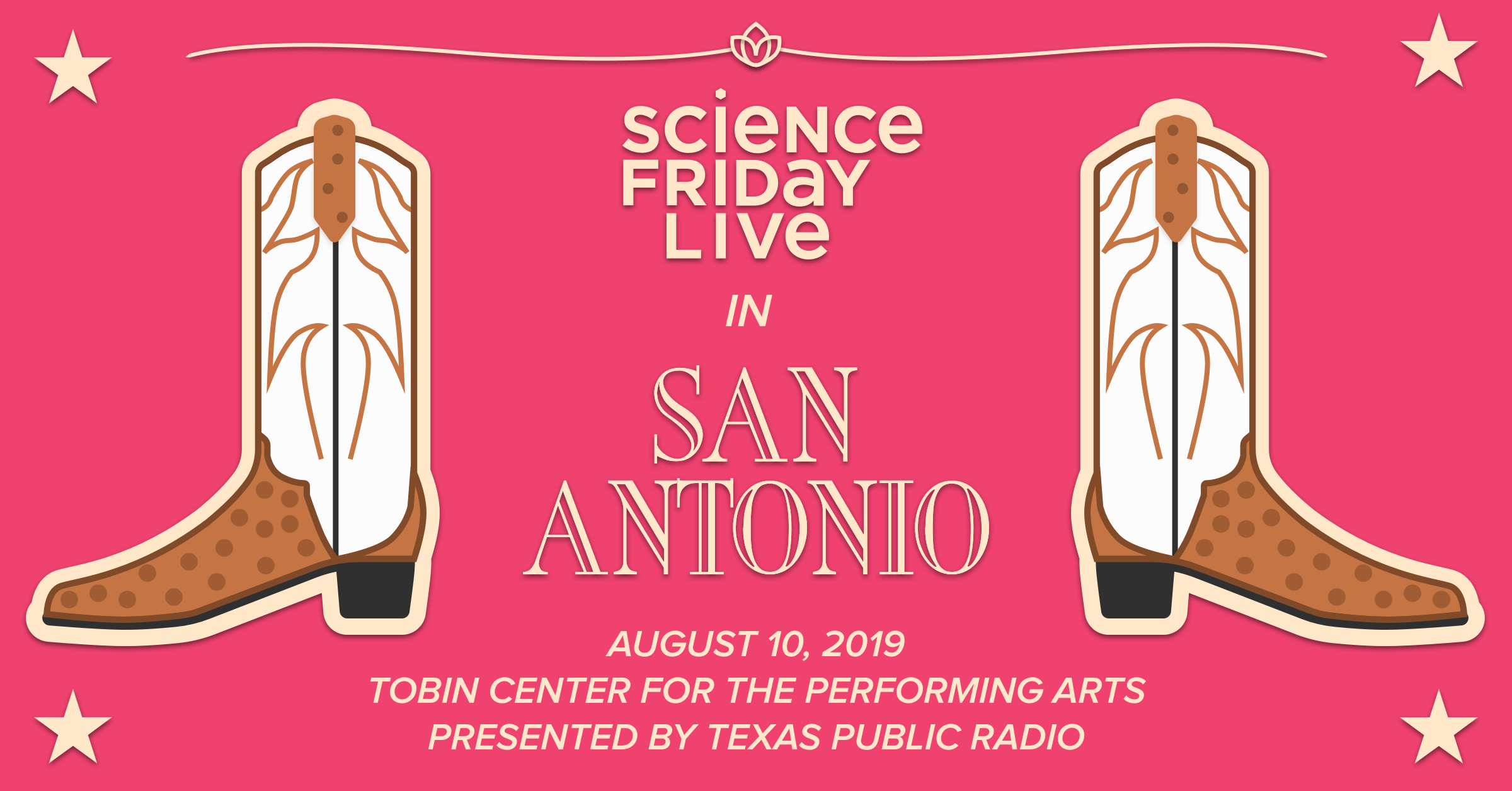 two graphic boots with text in between that says 'science friday live in san antonio'