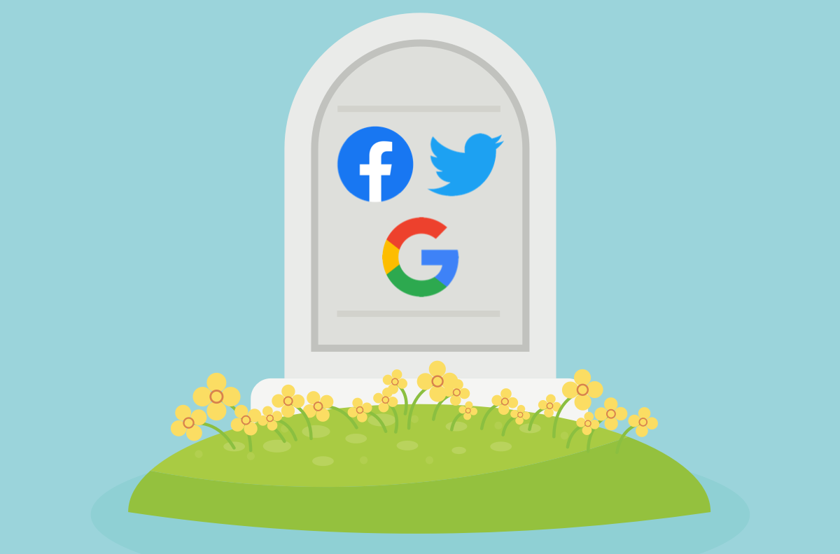 a gravestone with the facebook, twitter, and google logos on it