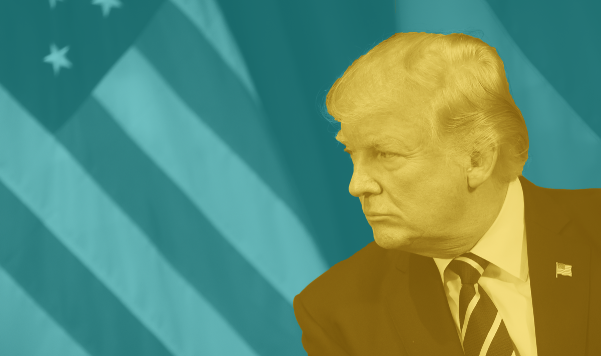 a blue and yellow branded filter over an image of president trump in front of the american flag