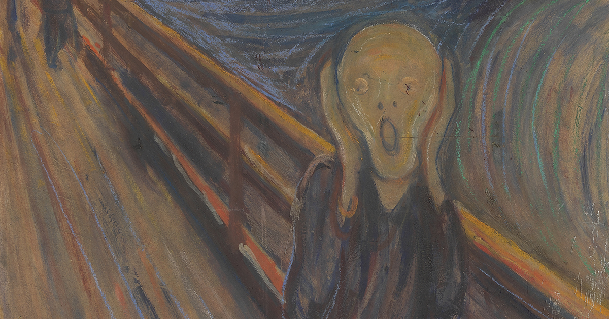 painting of man screaming against wooden railing