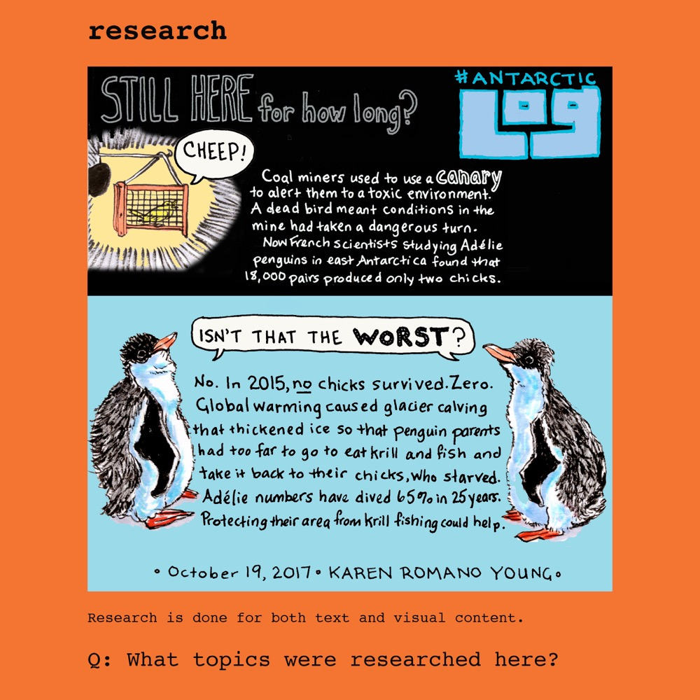 "Comic of two penguins saying ""isn't that the worst?"" in response to information about Adelie penguin decline. © Karen Romano Young"