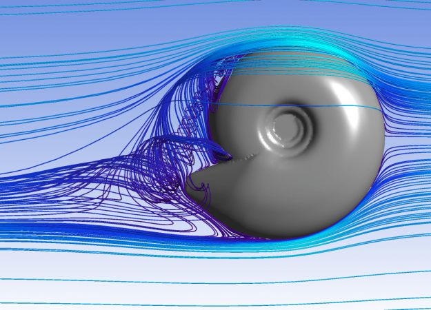 a gray 3D modeled circular coiled shell is surrounded by many different thing blue lines of varied shades.