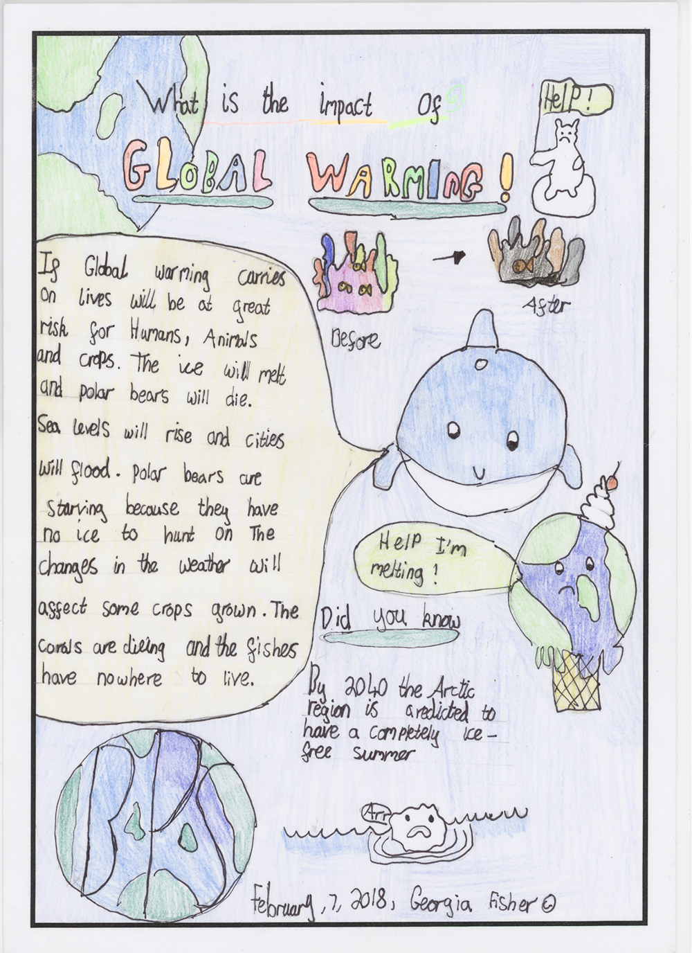 A student comic illustration about the impacts of global warming