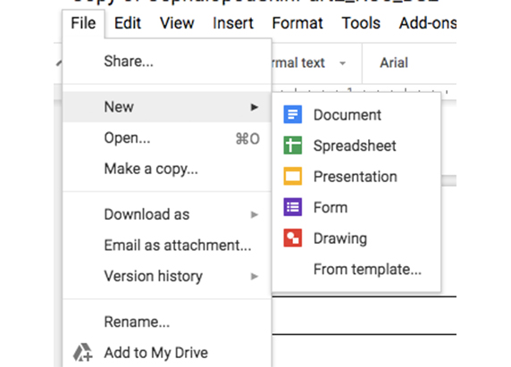 a screen shot of a google document -- showing the file, to new menu