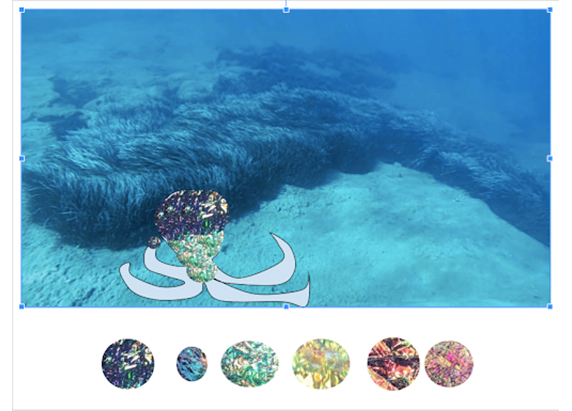 one of the foil images is placed over the head of the octopus in the seabackground
