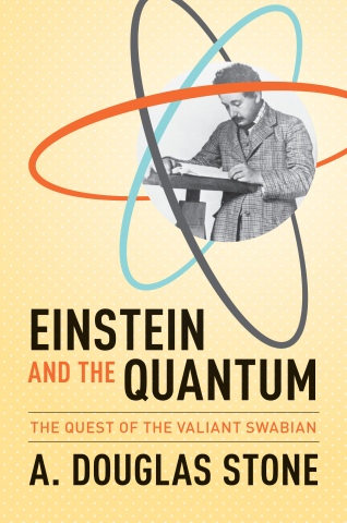 yellow book cover with einstein next to an atom reading a book