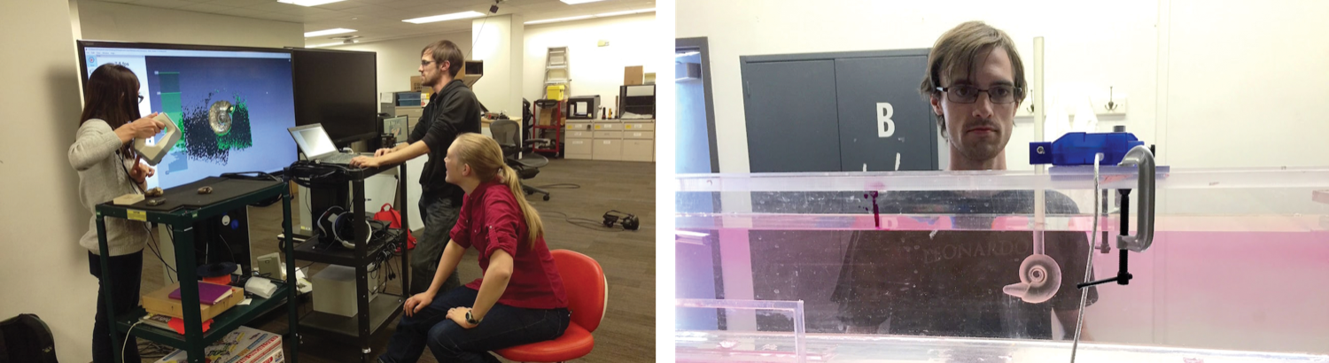 side by side images. on the left a woman with glasses operates a laser scanner while another woman sits in a chair and observes an image of a shell forming on a large television screen. on the right is a man at a computer also monitoring the 3D being scanned. on the right, a younger scientist with glasses looks at a large long clear tank of water. sticking up from the top of the seal box is a pole. at the end of the pole in the water is a swirled model of a shell.