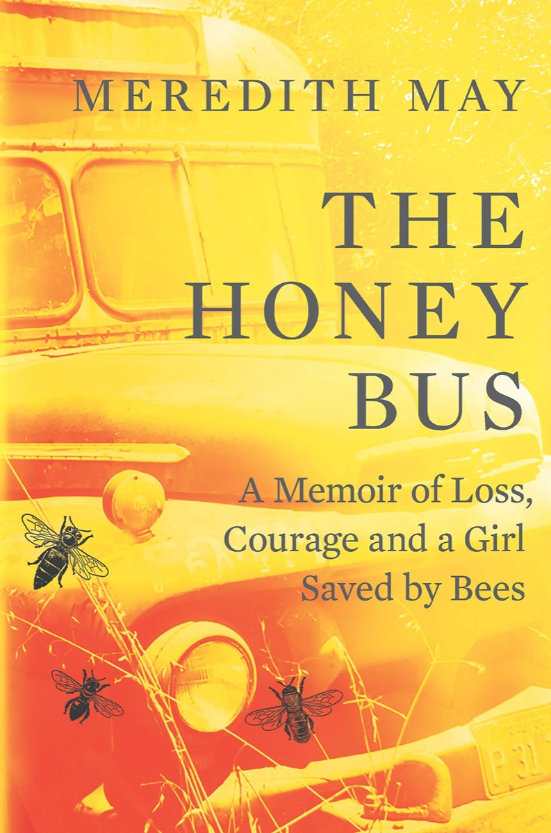 honey-yellow cover with a school bus and a bee landing on it with right justified text