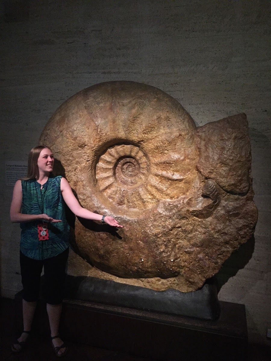 a woman with her arms out gesturing stands next to a very large swirled shell. it's taller than her