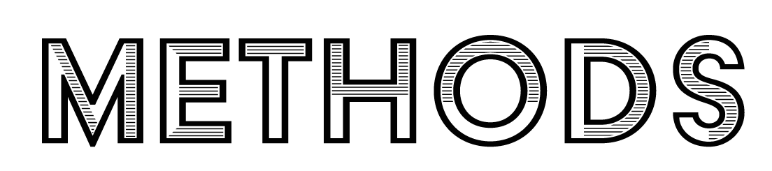 "a logo in black and white blocky letters that reads ""methods"""