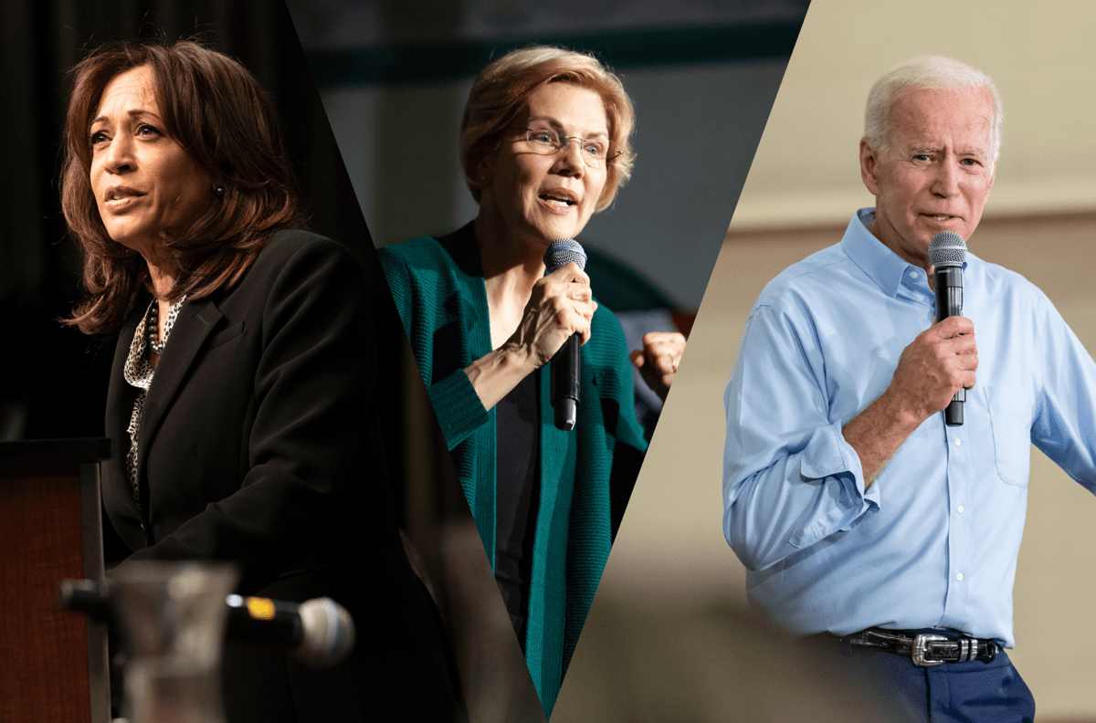 kamala harris, elizabeth warren, and joe biden all giving speeches collaged together