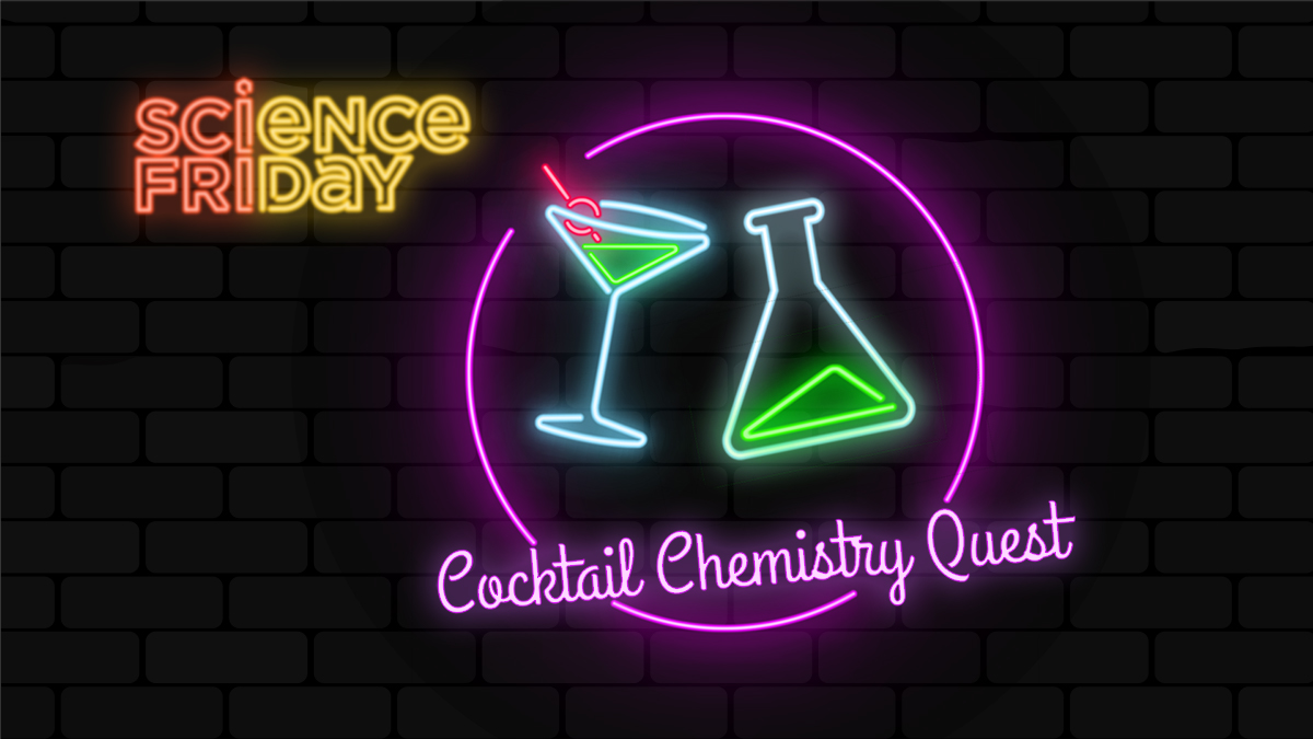 the science friday logo as neon lights, alongside the cocktail chemistry quest logo