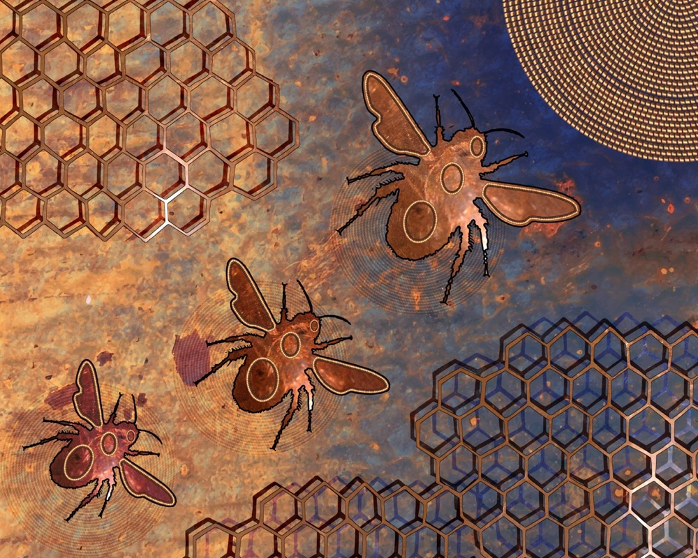 a golden, blue artwork with three outlines of gold bees flying towards a golden circle. in the corners are honeycombs