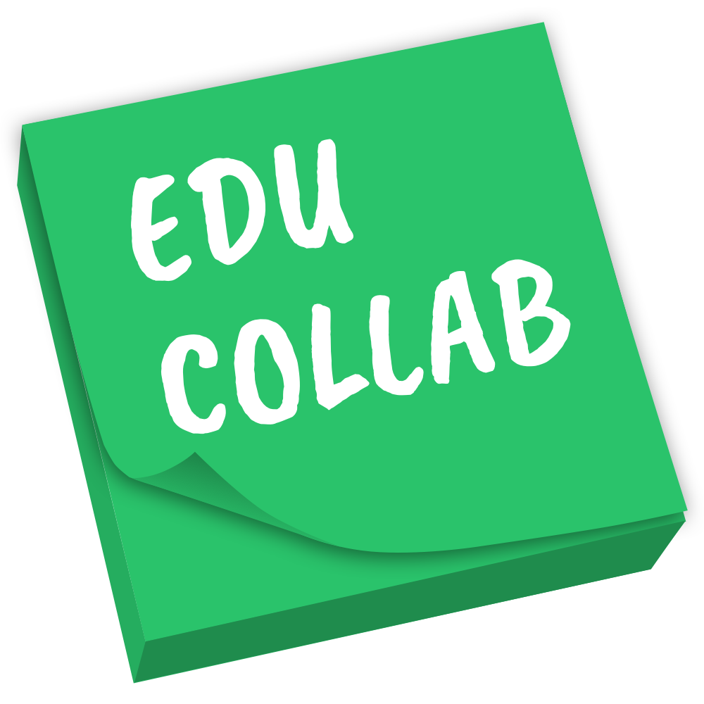 designed stack of post-it notes that says edu collab