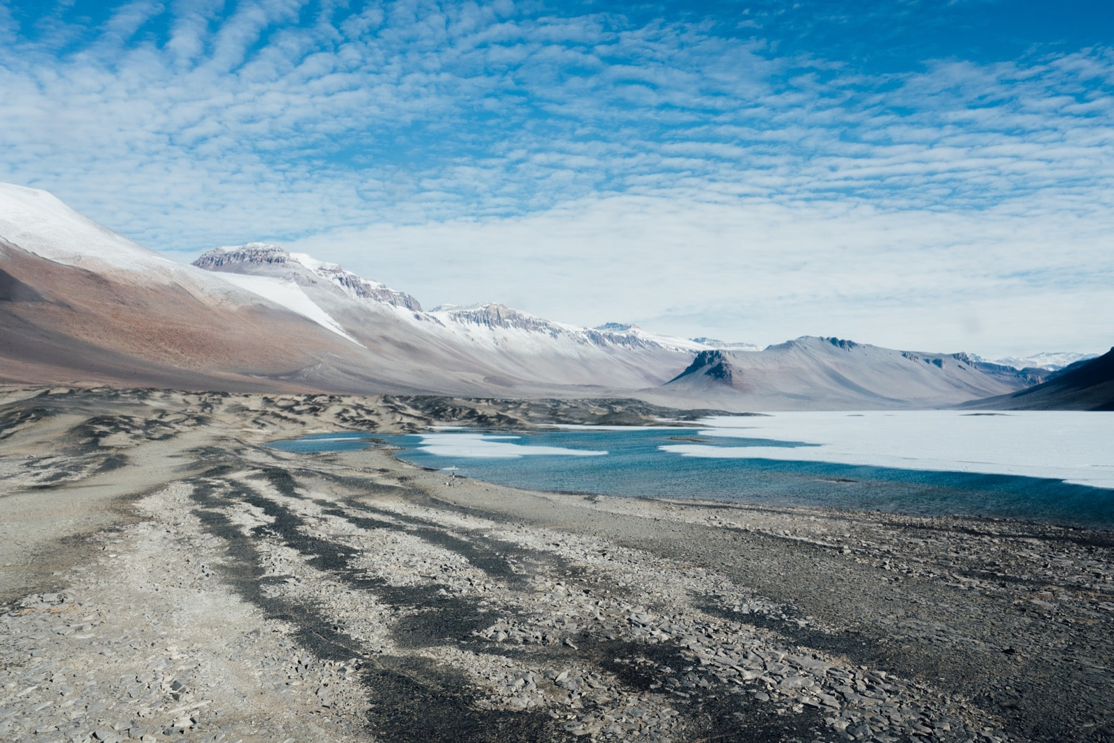 a landscape shot of a desolate landscape, populated by mountains, and a melting lake