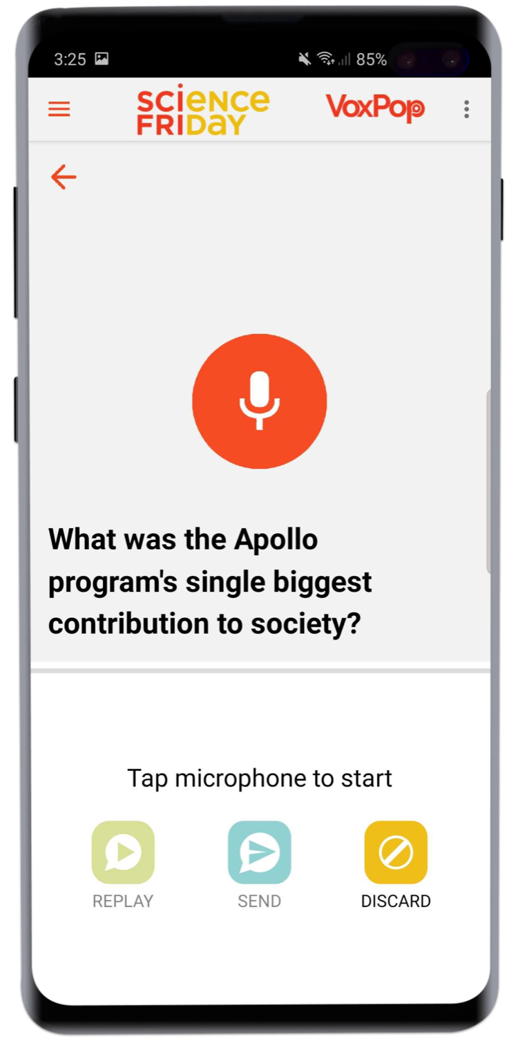 an android phone screenshot with a mic icon and the copy 'what was the apollo program's single biggest contribution to society?'