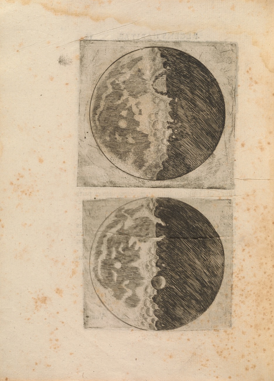 detailed line drawings of the moon on yellowed parchment paper