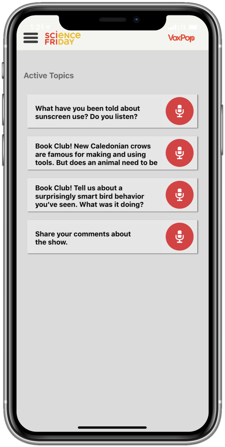 an iphone screenshot of an app that lists different prompts and topics