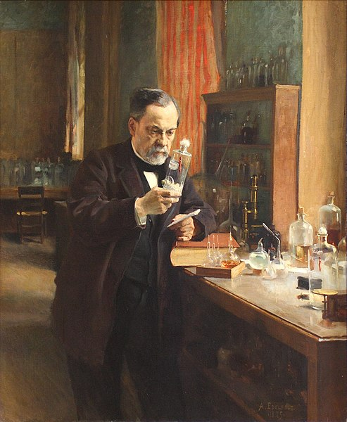 a painting of a middle-aged louis pasteur in his lab holding up a glass vile during an experiement