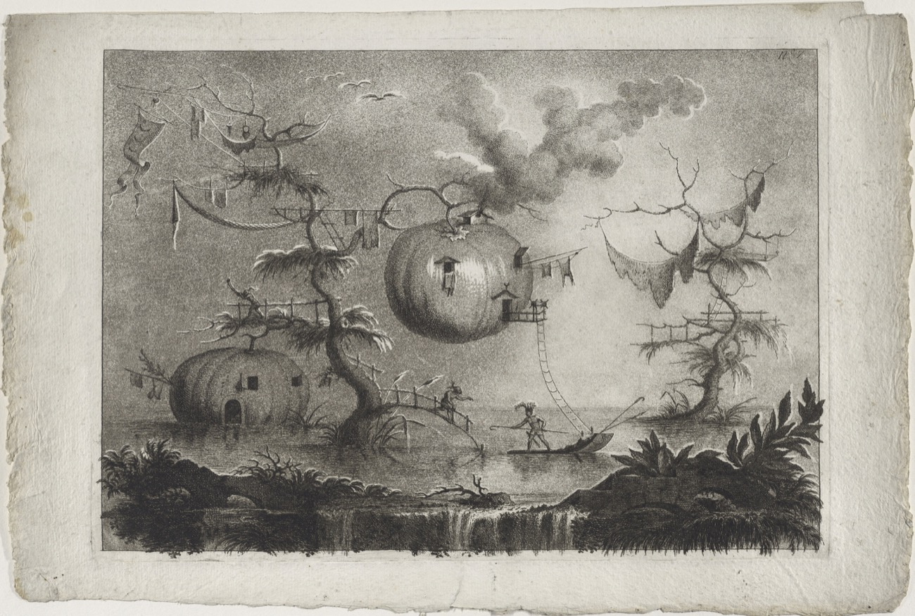 an illustrated image of a swampy landscape with spindly long trees with giant pumpkins hanging on them. the pumpkins have doors and windows carved into them, with creatures in and out of them on the landscape