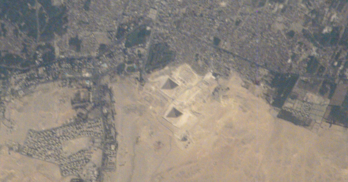 the pyramids of giza as seen from space