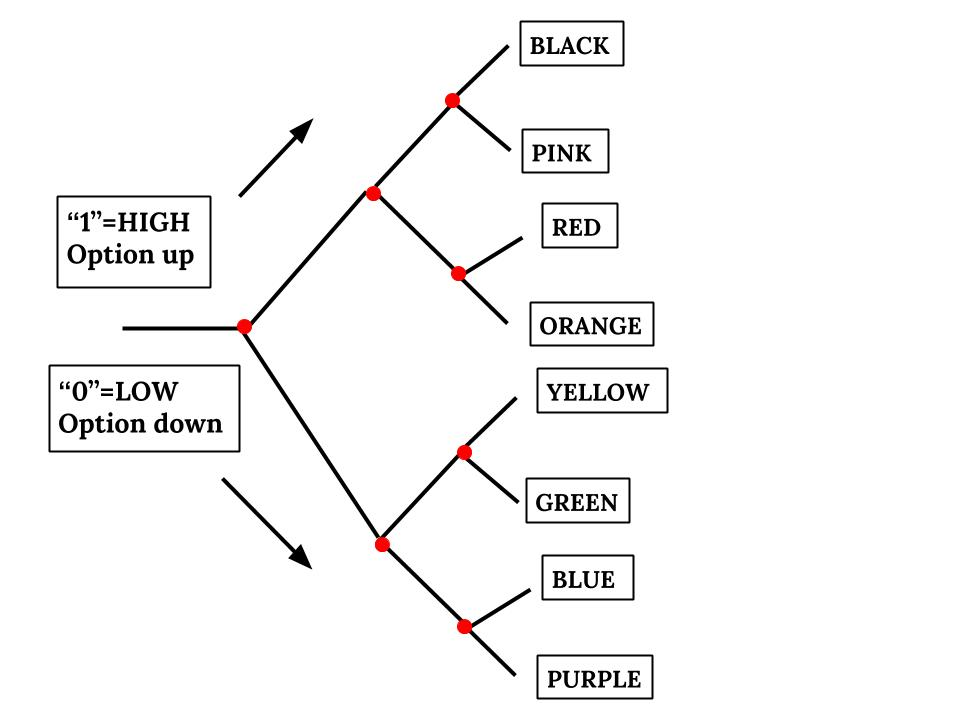a graphic of a logic map, showing different pathways to different colors