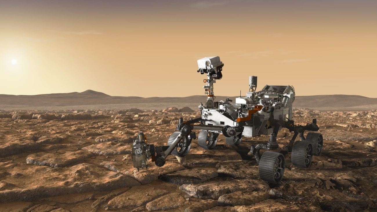 an artists rendering of a rover on mars