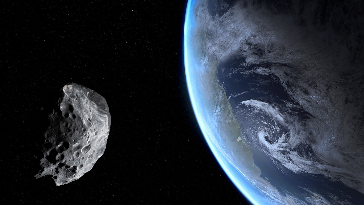 A rendering of an asteroid approaching Earth