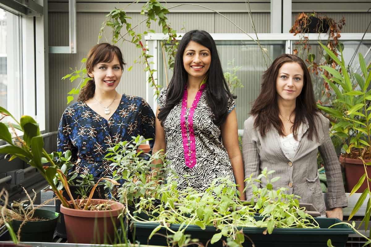 three women botanists in a lab with various plants around them