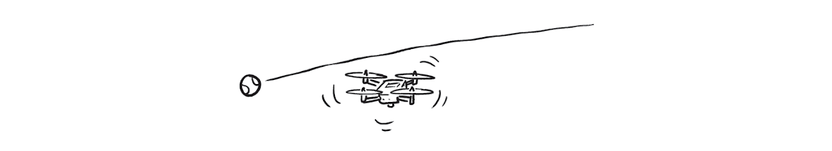 a comic of a flying drone with a tennis ball arcing over it