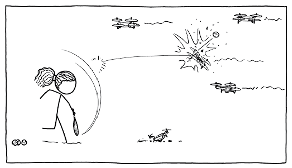 a stick figure of serena williams serves a tennis ball that launches and hits an incoming drone. there are three other drones in the air and one broken one on the ground.