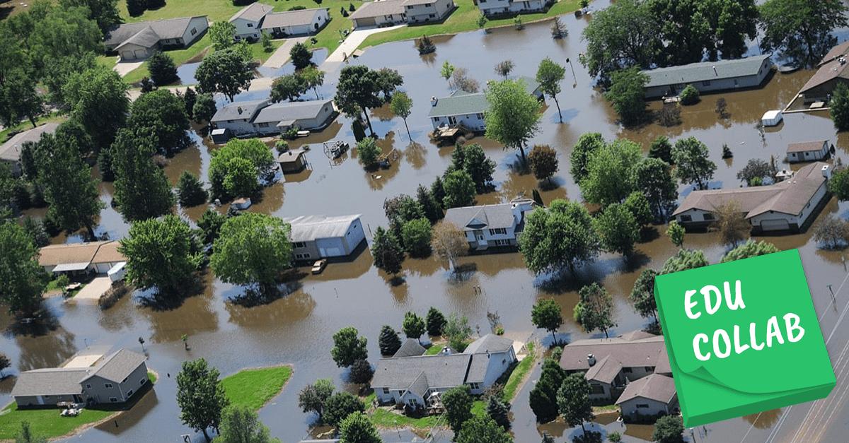 an arial photograph of a flooded neighborhood