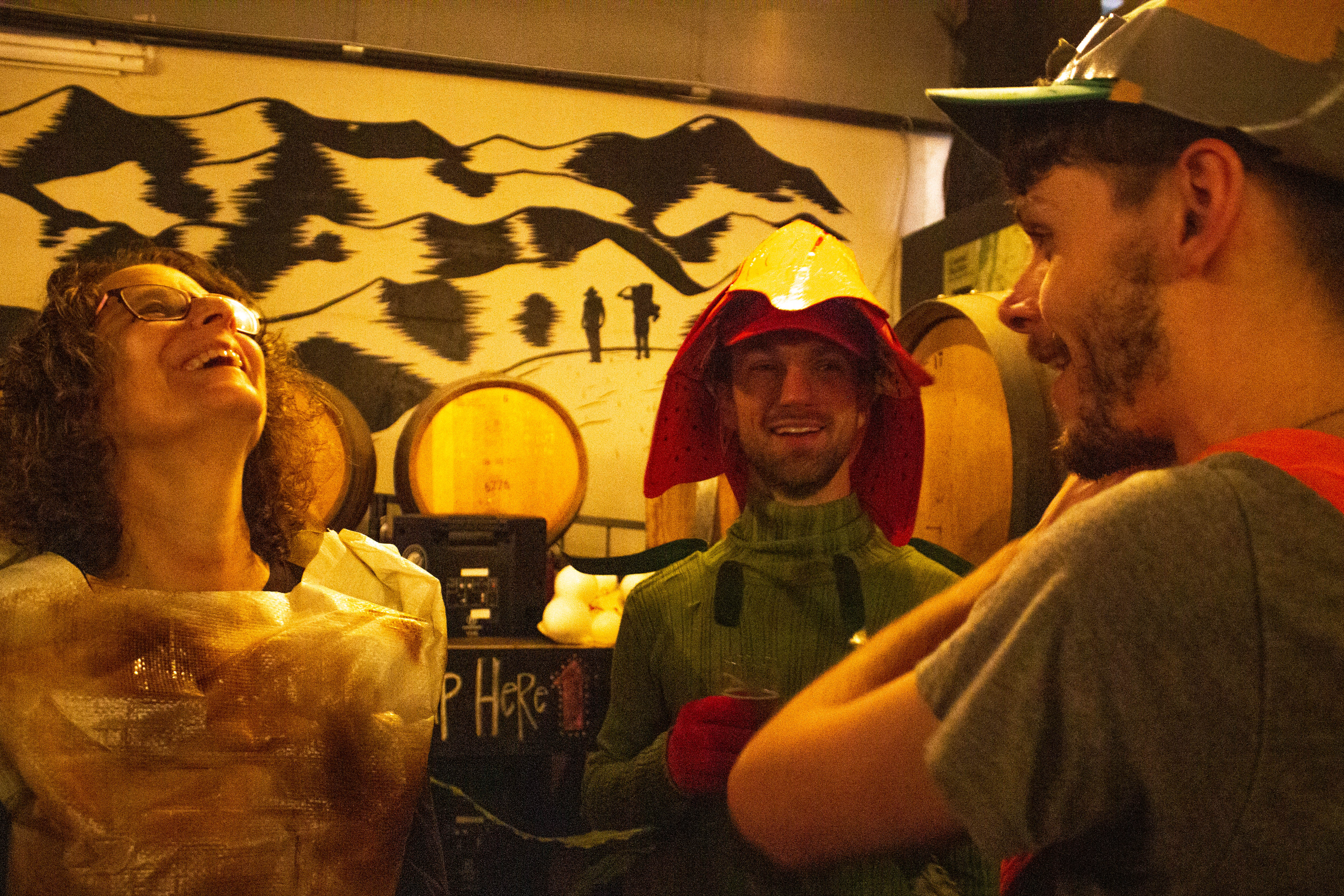 three people dressed in costume as a lichen, lily, and snail laugh at a bar