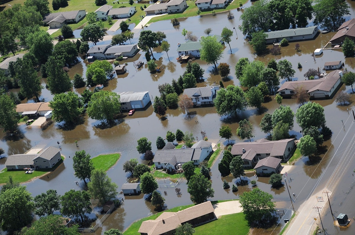 an arial photograph of a flooded neighborhood