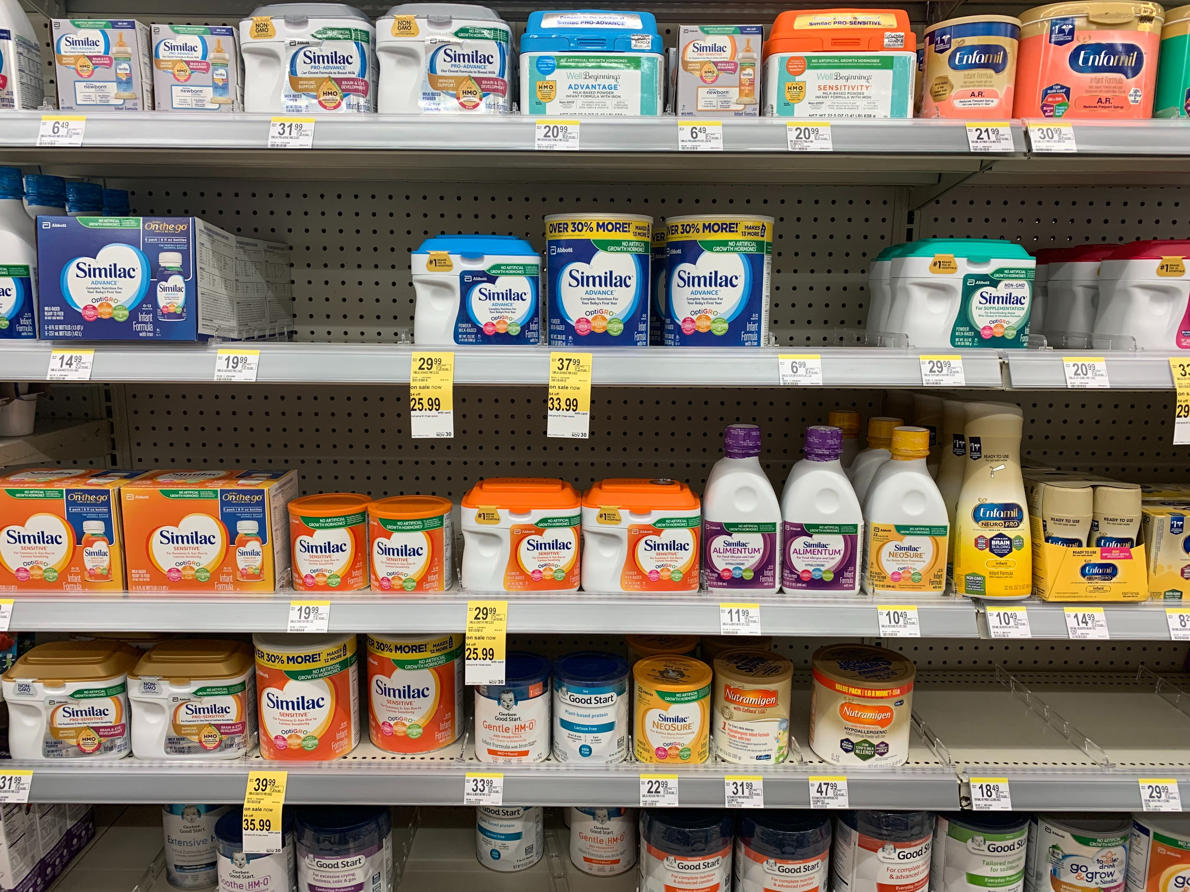 Shelves with baby formula.