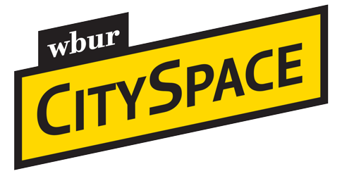 two slanted rectangles sit on top of each other, one black with white text reading 'wbur', the other below it yellow with a black border with black text reading 'cityspace'