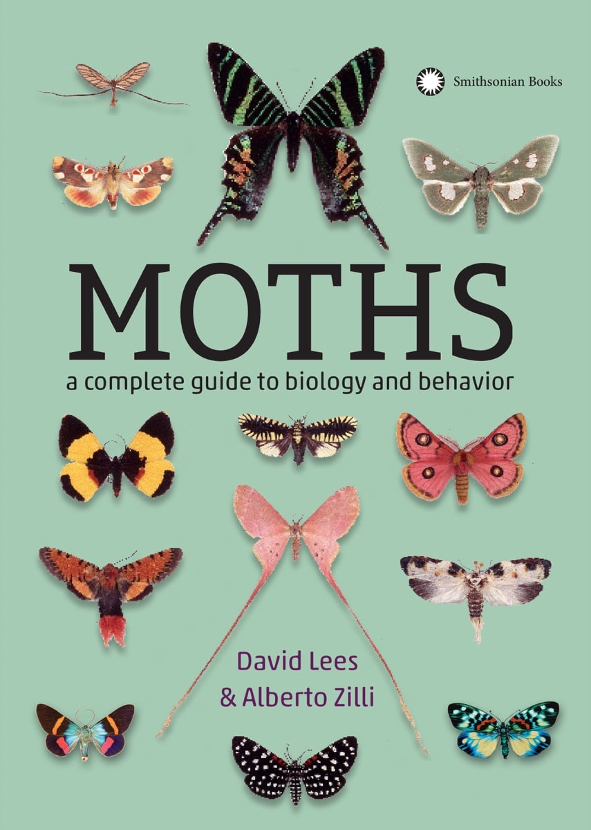 "a book cover that says ""moths: a complete guide to biology and behavior"""