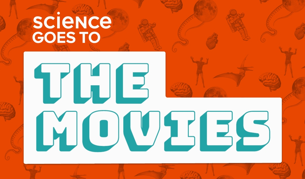 "an orange background, with faded images with a science-fiction theme such as zombies and astronauts, and the words ""science goes to the movies"""