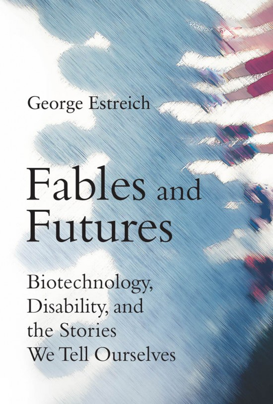 "a book cover with illustrated shadows of people and the title ""fables and futures"""