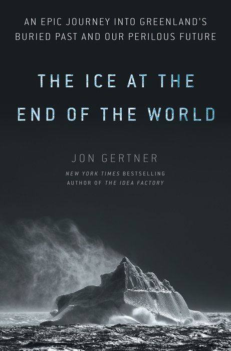 "a dark book cover with an iceberg on it, and a title that says ""the ice at the end of the world"""