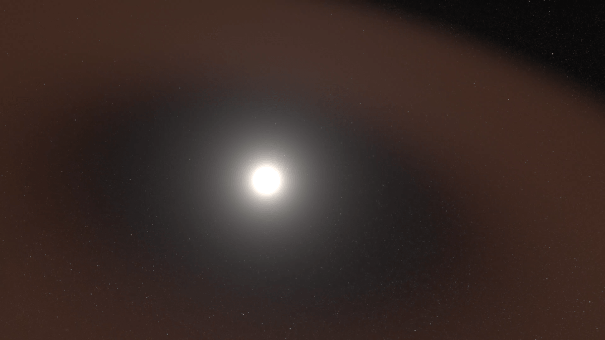 a rendering of the sun, visualizing a space immediately around the sun that is dust free