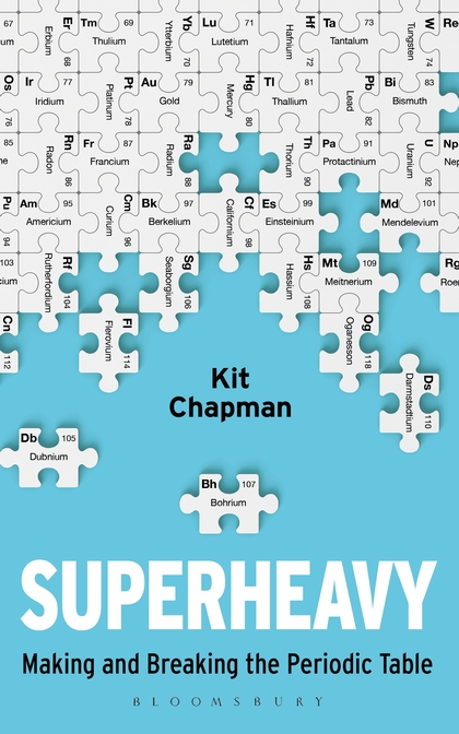 "a book cover with puzzle pieces and the title ""superheavy"""