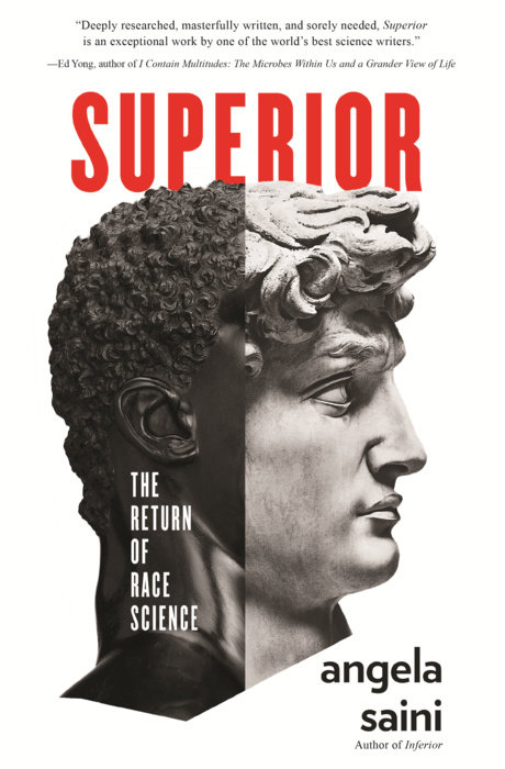 "a book cover of a roman-style bust, half that is white, and the other half that is black. the title is ""superior"""