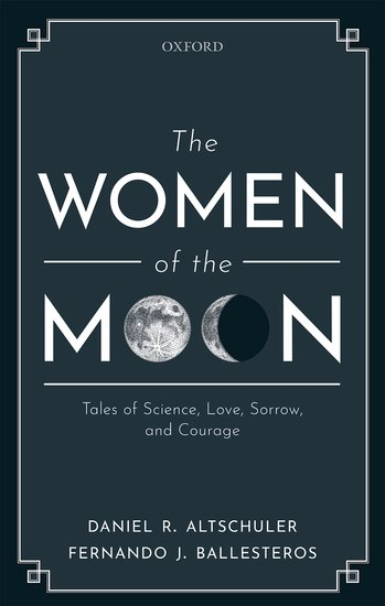 "a dark gray book cover with the title ""the women of the moon."" the ""o's"" of the word ""moon"" are a full and waxing moon"
