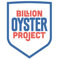 blue shield outline with the words 'billion oyster project'