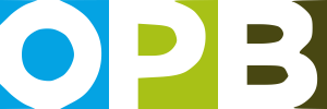 logo for oregon public broadcasting, featuring the letter O, P, B with backgrounds in blue, light green and dark green respectively