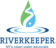 a blue and green illustration of a water droplets with the words 'riverkeeper, NY's clean water advocate' underneath