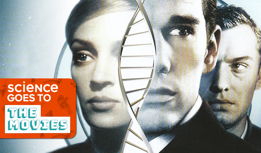 movie poster for 'gattaca' featuring ethan hawke, uma thurman and jude law, with a double helix structure slightly obscuring their faces, and a content block featuring the title 'science goes to the movies'
