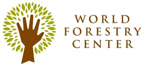 a logo featuring the words 'word forestry center' and a hand with a halo of leaves around it, in the shape of a tree